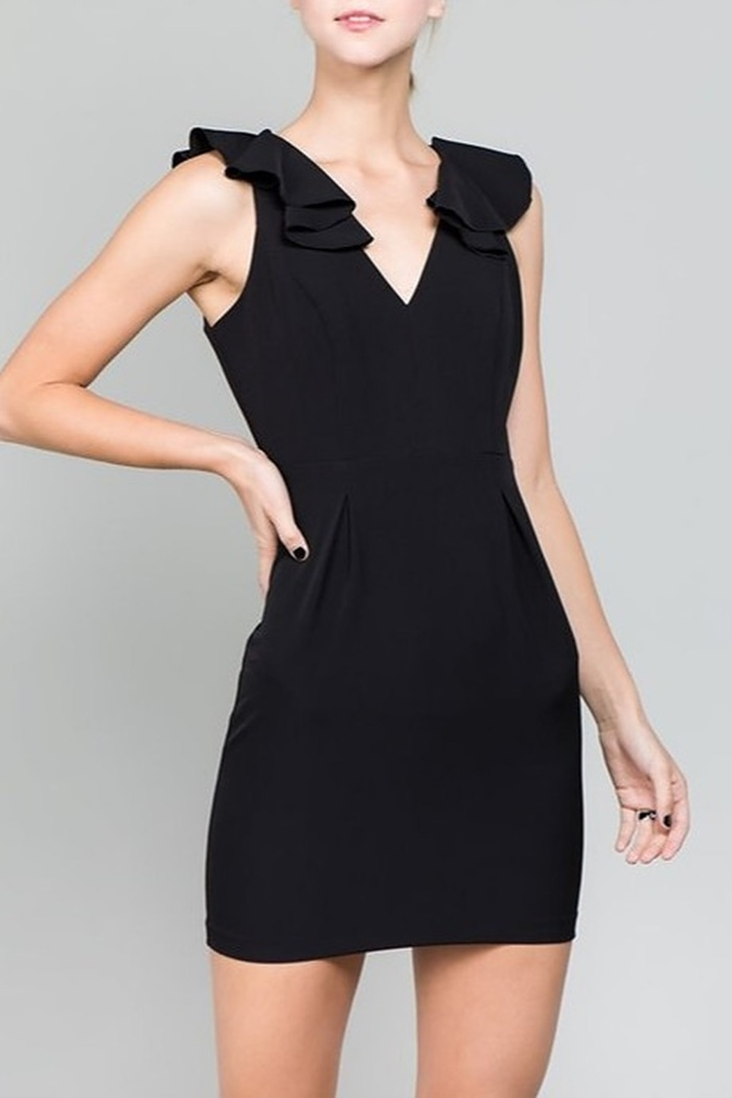 Minuet Ruffle Shoulder Dress - Front Cropped Image