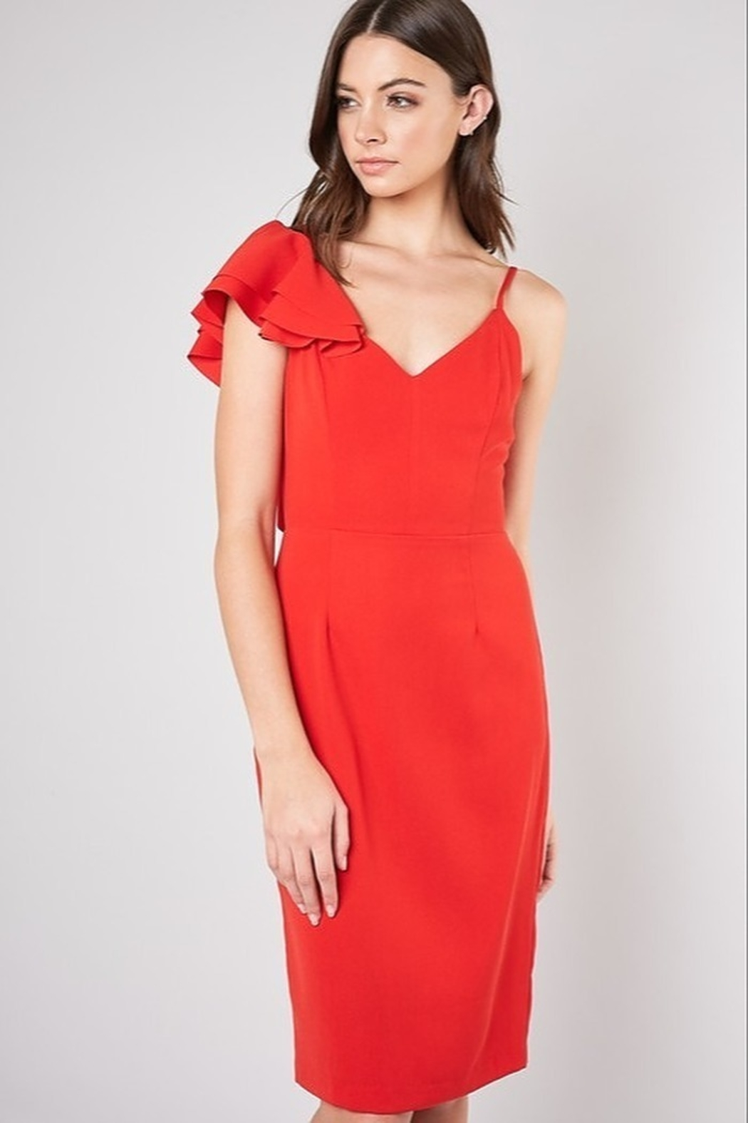 Do + Be  Ruffle Shoulder Dress - Front Cropped Image