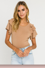 English Factory Ruffle Shoulder Top - Product Mini Image