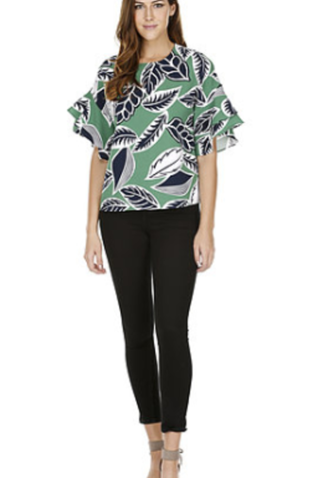 Joy Joy Ruffle Floral Top - Front Cropped Image