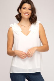 She and Sky Ruffle Shoulder Top - Product Mini Image