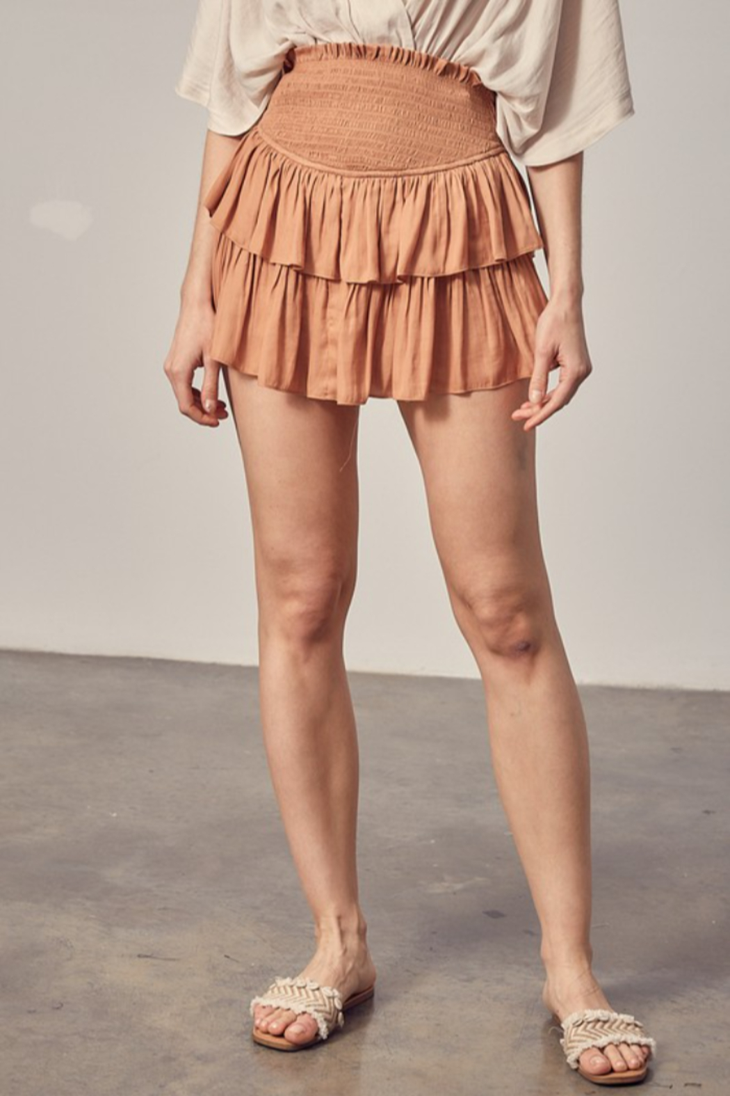 Mustard Seed  Ruffle Skirt With Shorts - Front Cropped Image
