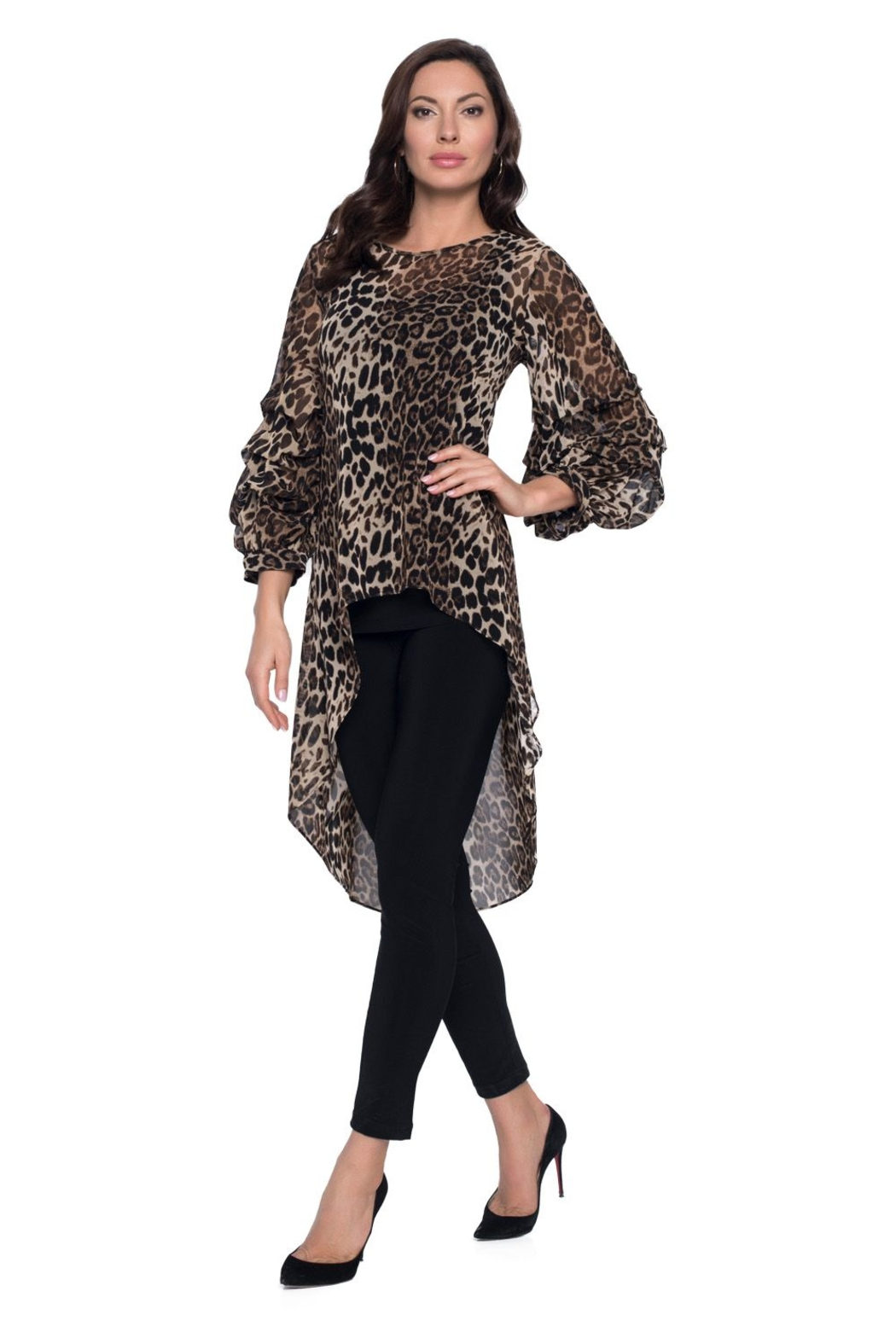 Frank Lyman  Ruffle Sleeve Animal Print Hi Low Top 203684 - Front Cropped Image