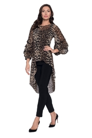 Frank Lyman  Ruffle Sleeve Animal Print Hi Low Top 203684 - Front cropped