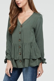 Lyn -Maree's Ruffle Sleeve Button Down - Front cropped