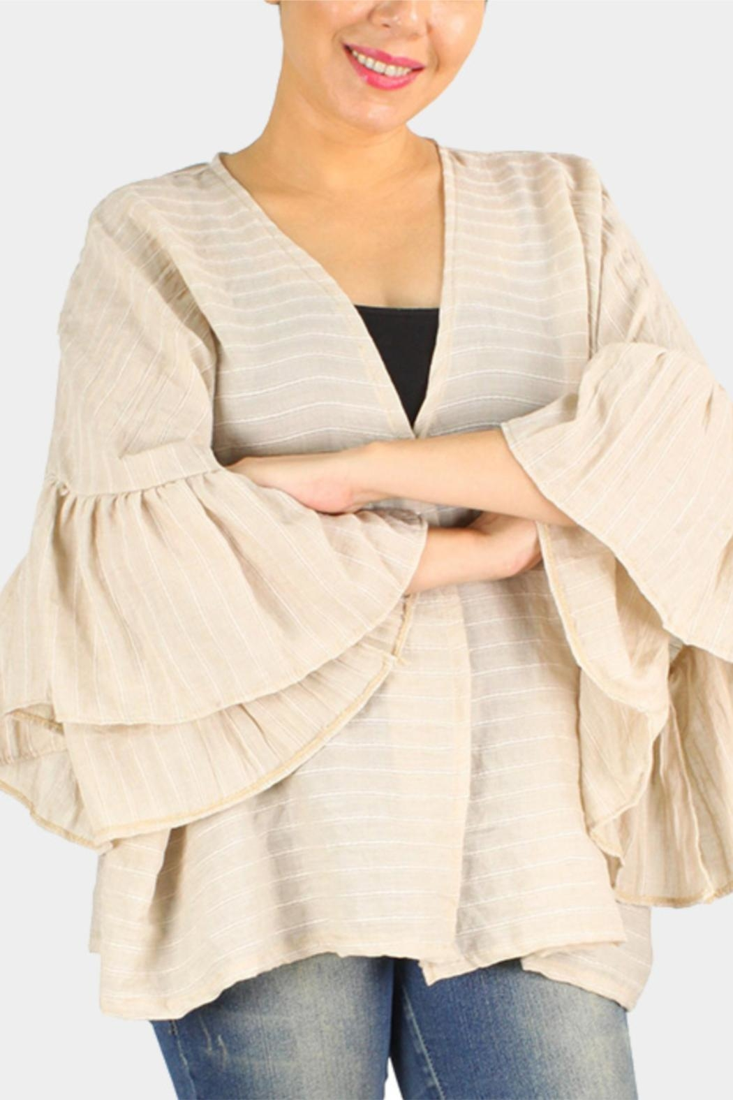 Embellish Ruffle Sleeve Cardigan - Main Image