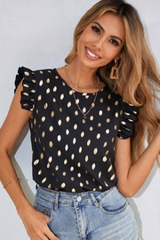 C+D+M Ruffle Sleeve Dot Top - Side cropped