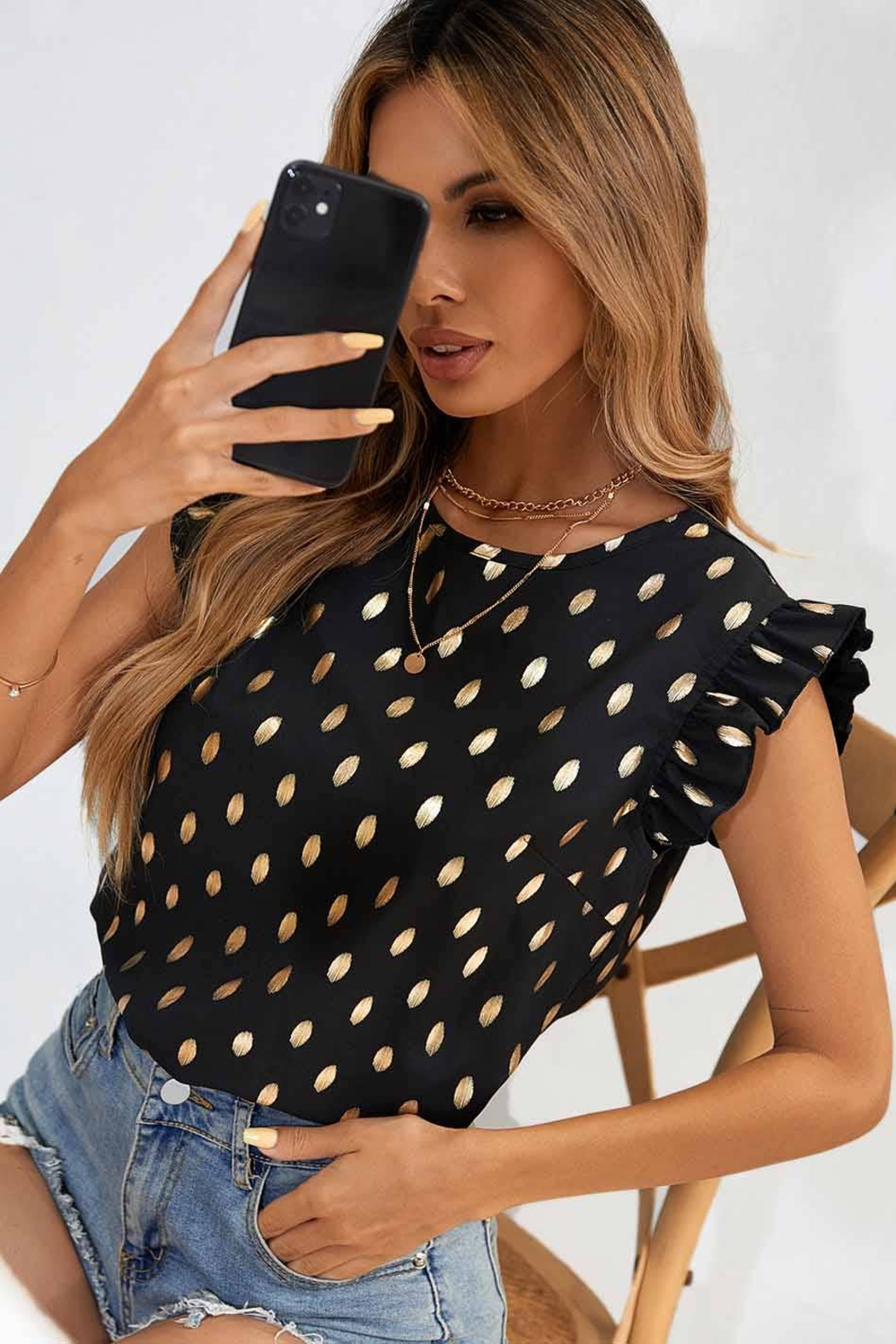 C+D+M Ruffle Sleeve Dot Top - Front Full Image