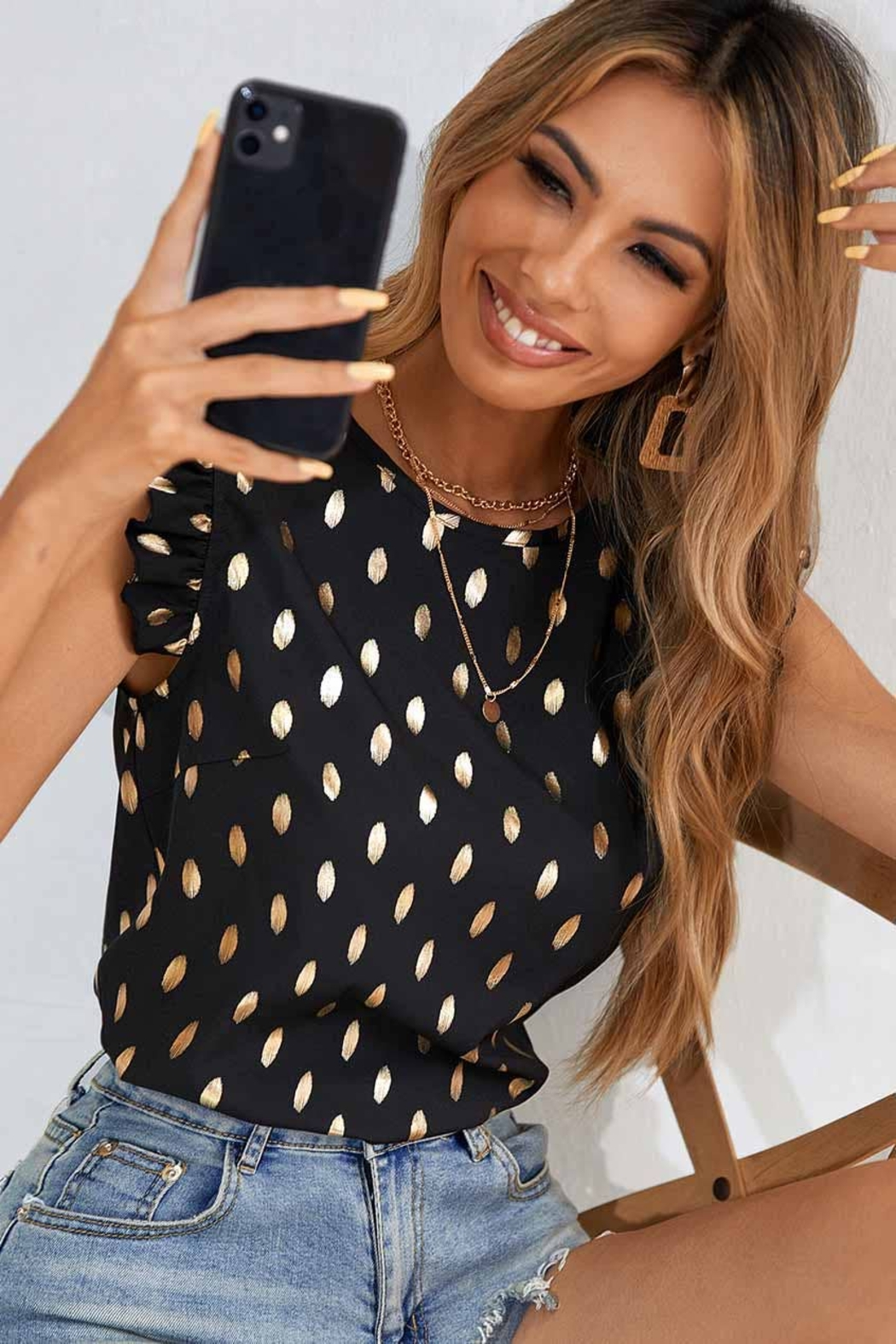 C+D+M Ruffle Sleeve Dot Top - Back Cropped Image