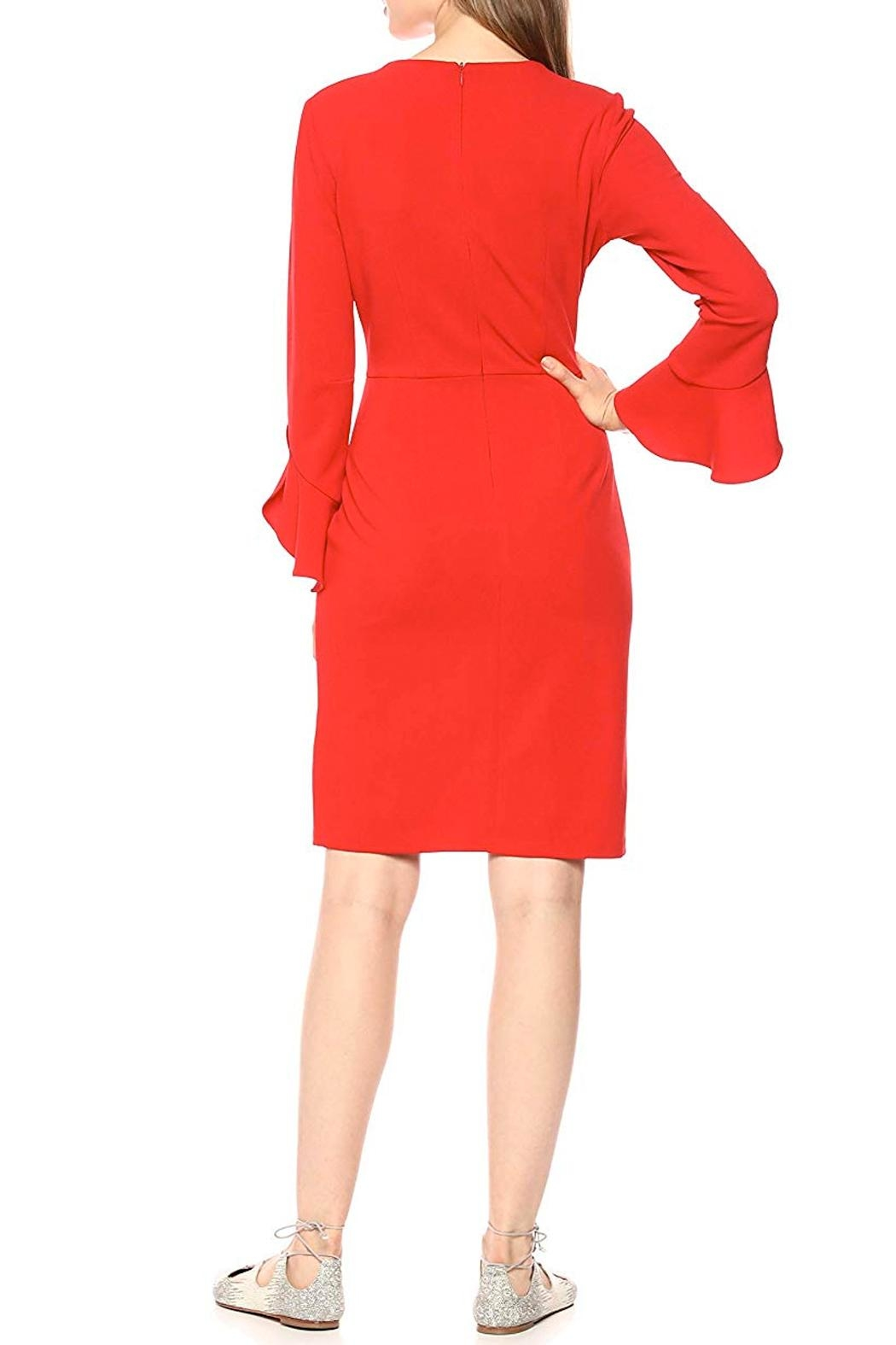 Donna Morgan Ruffle Sleeve Dress - Front Full Image