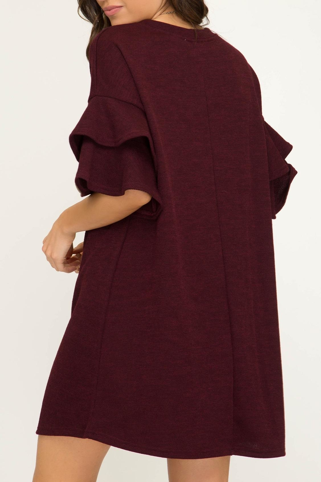 She + Sky Ruffle Sleeve Dress - Front Full Image