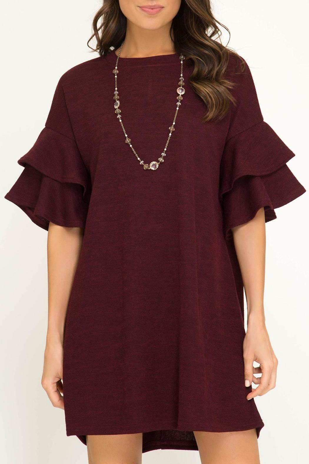 She + Sky Ruffle Sleeve Dress - Main Image
