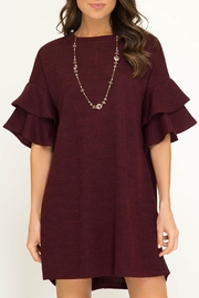 She + Sky Ruffle Sleeve Dress - Front cropped