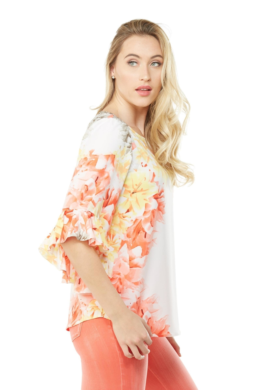 Nygard Ruffle Sleeve Floral - Side Cropped Image