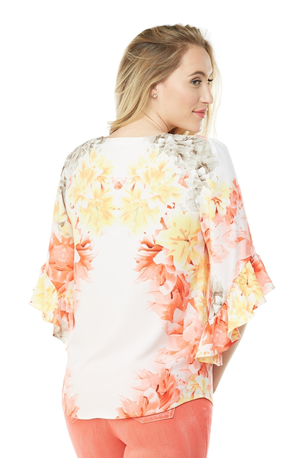 Nygard Ruffle Sleeve Floral - Front Full Image