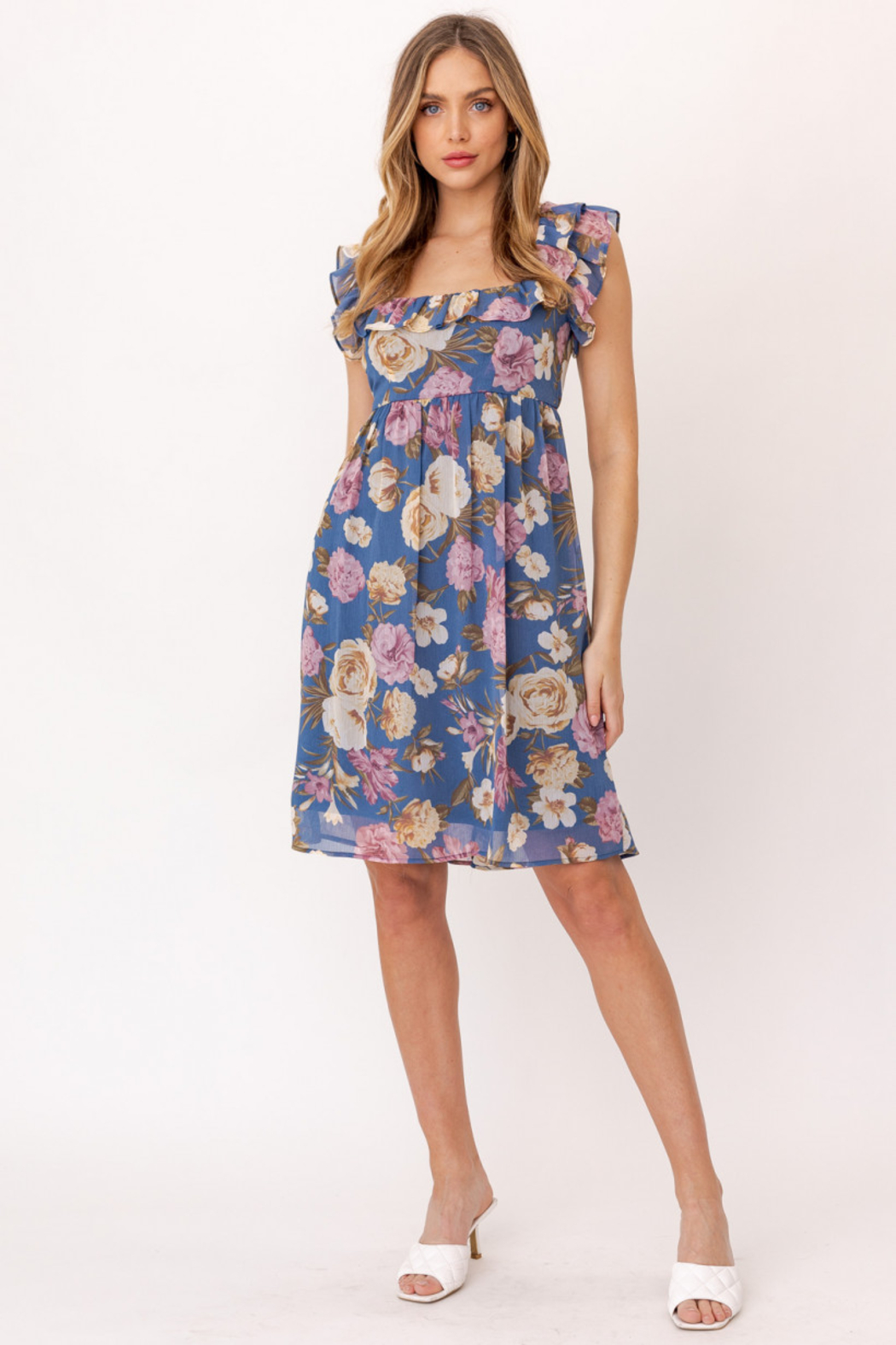 Gilli  Ruffle Sleeve Floral Dress - Front Full Image