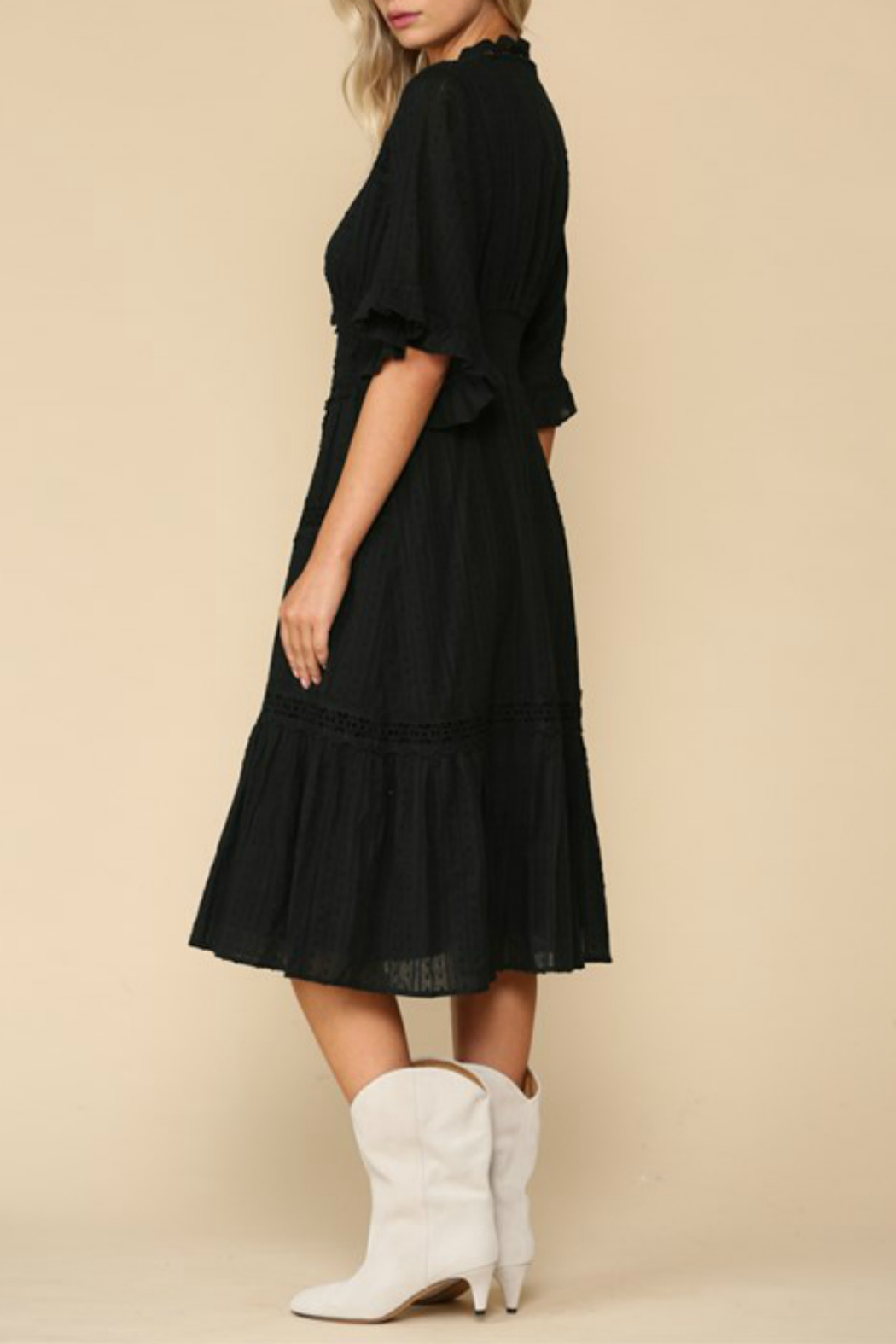 By Together  Ruffle Sleeve Midi Dress - Front Full Image