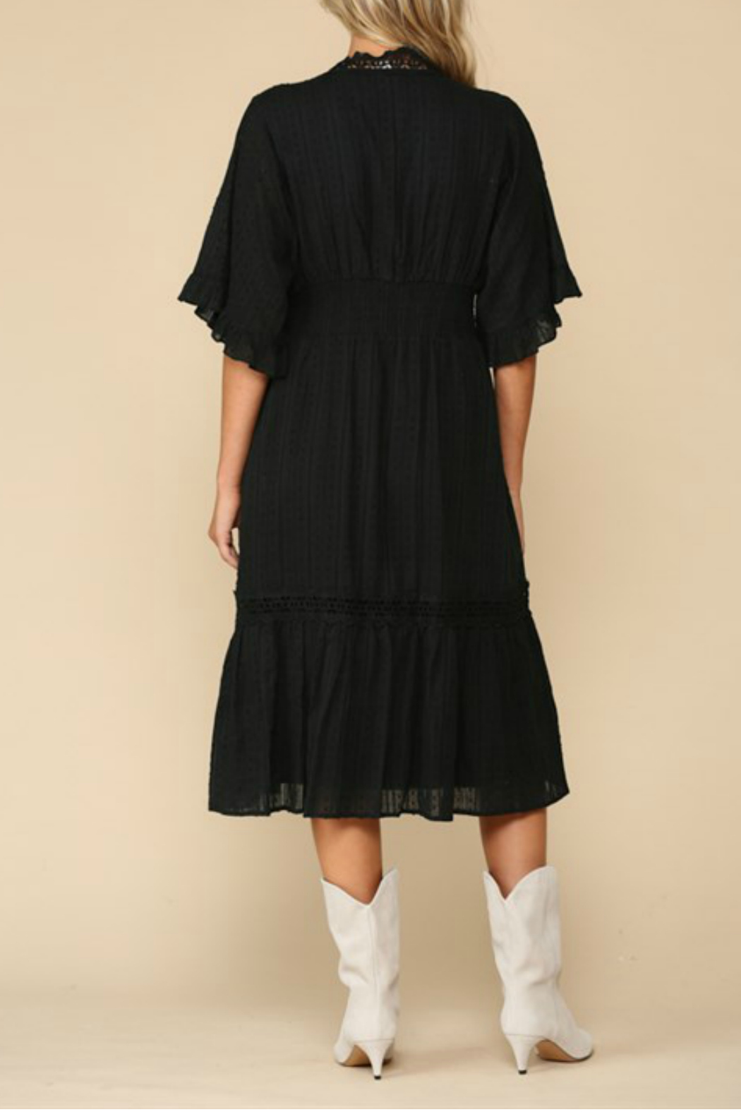 By Together  Ruffle Sleeve Midi Dress - Side Cropped Image