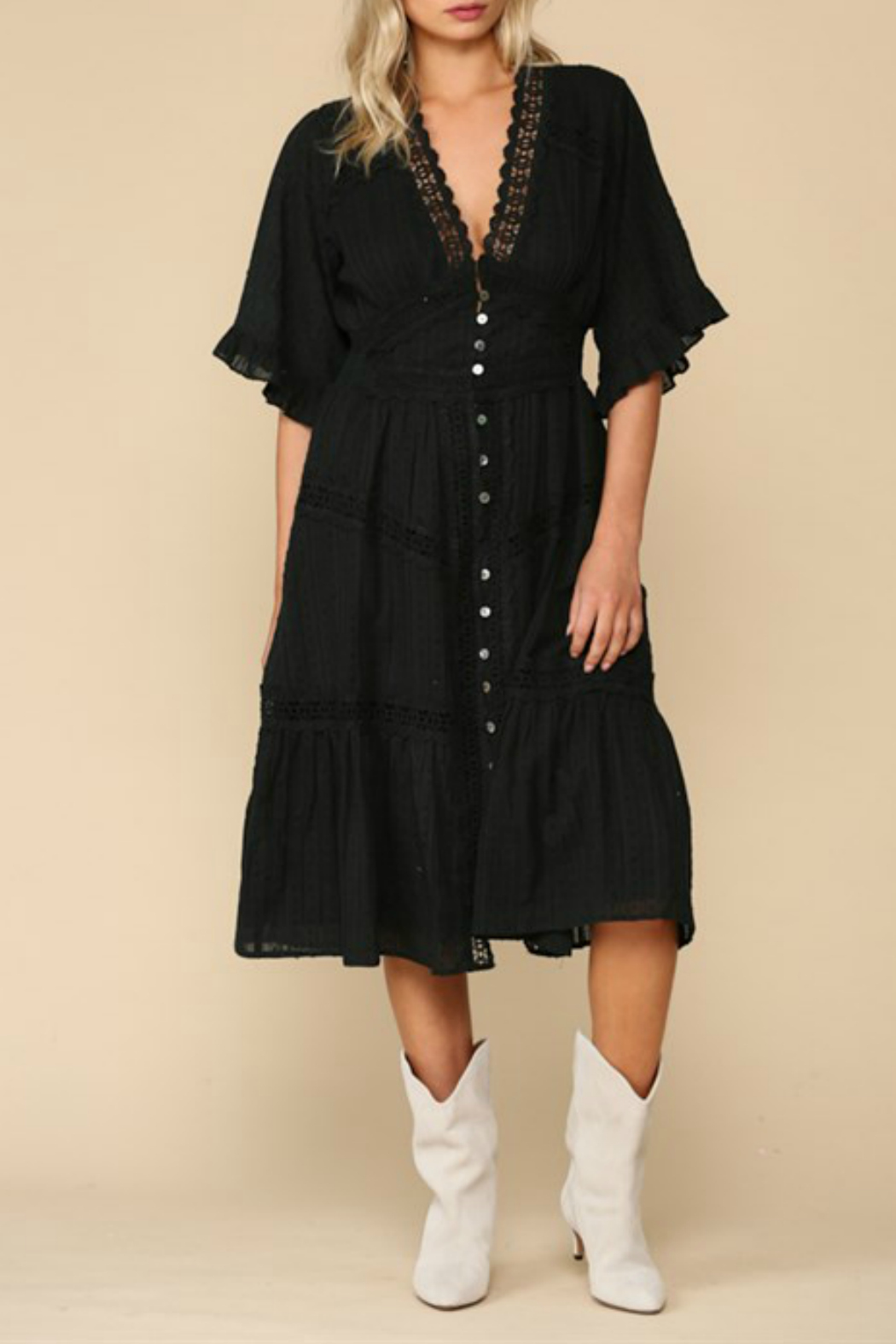 By Together  Ruffle Sleeve Midi Dress - Main Image