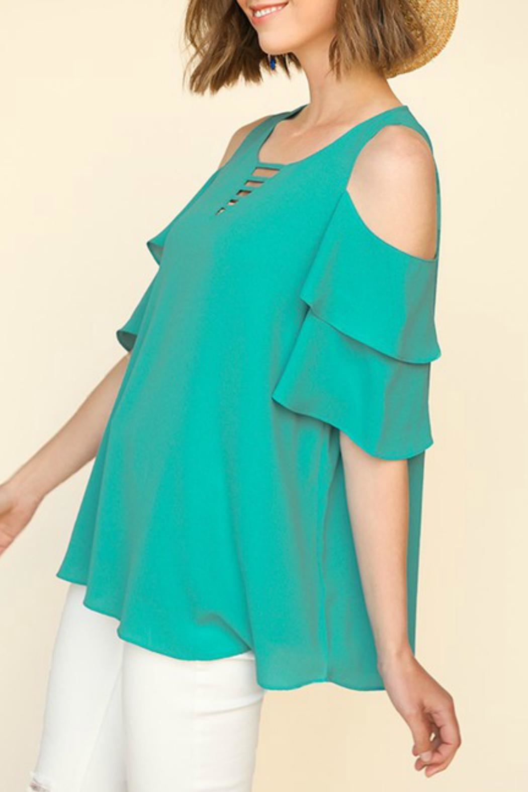 9050a29558ca0 Umgee USA Ruffle-Sleeve Open-Shoulder Top from Texas by Ale s Closet ...