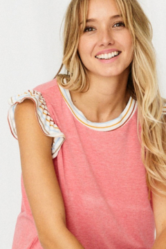 Ces Femme  Ruffle Sleeve Solid Top - Product List Image