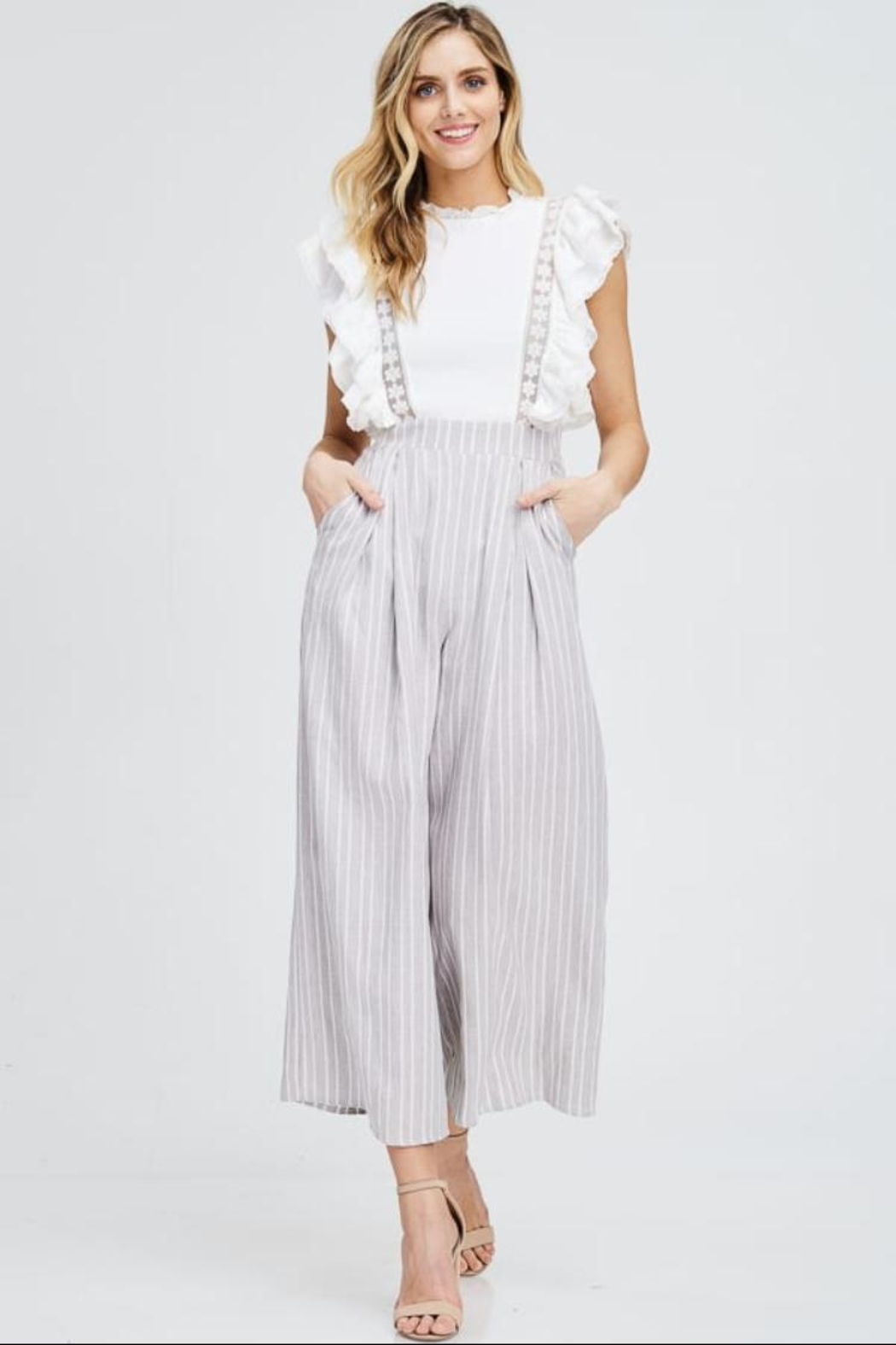 the clothing company Ruffle-Sleeve Stripe Jumpsuit - Main Image