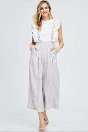 the clothing company Ruffle-Sleeve Stripe Jumpsuit - Front cropped