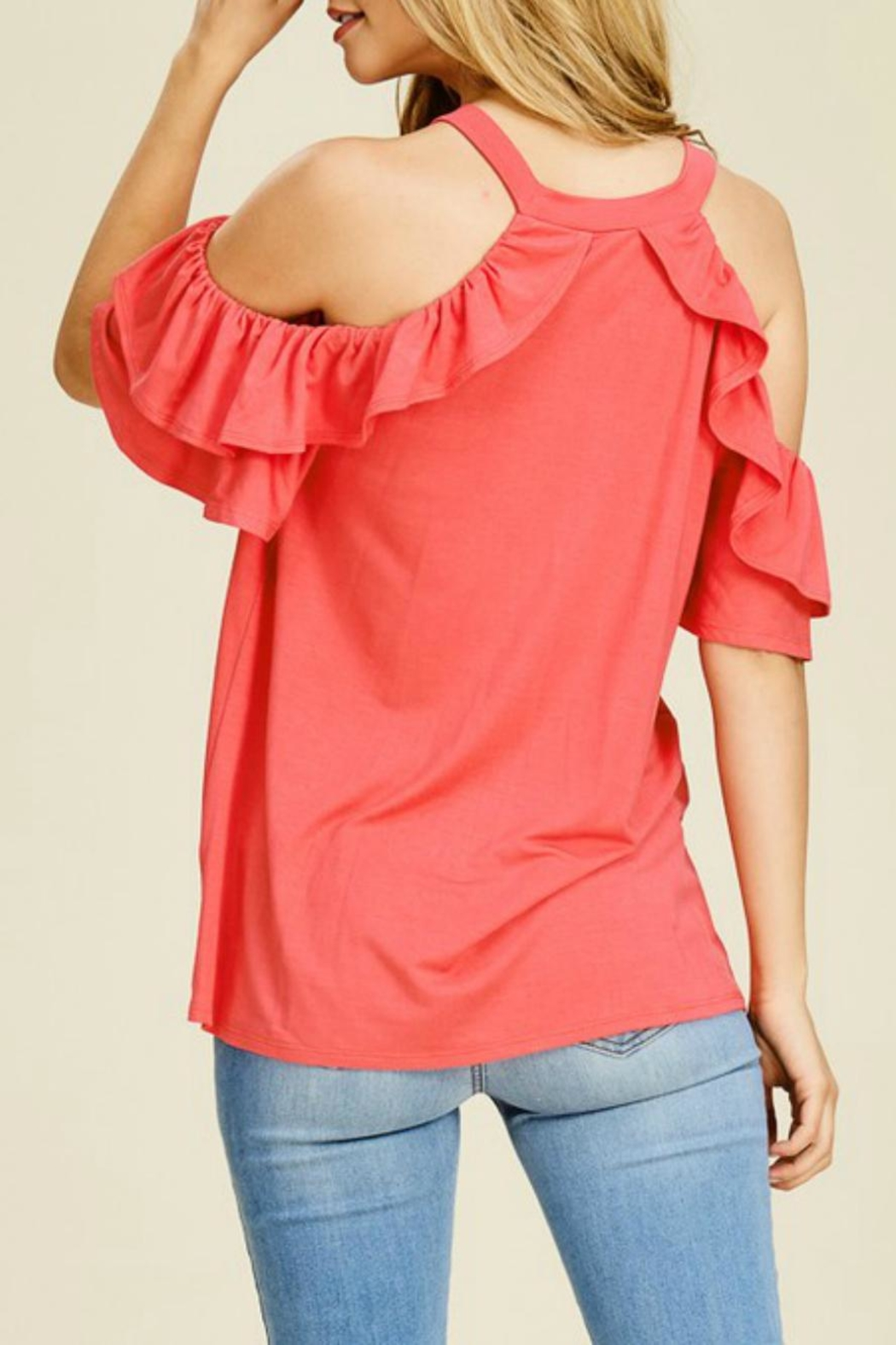 White Birch Ruffle-Sleeve Tank Tee - Side Cropped Image