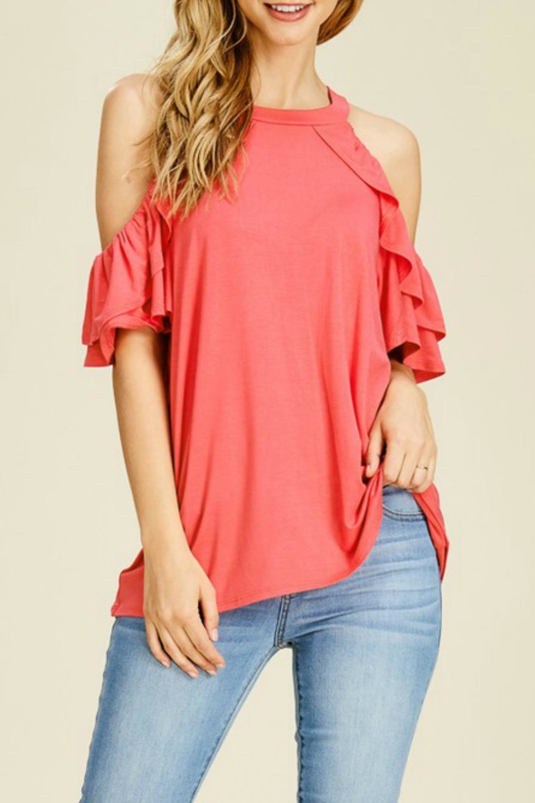 White Birch Ruffle-Sleeve Tank Tee - Front Cropped Image