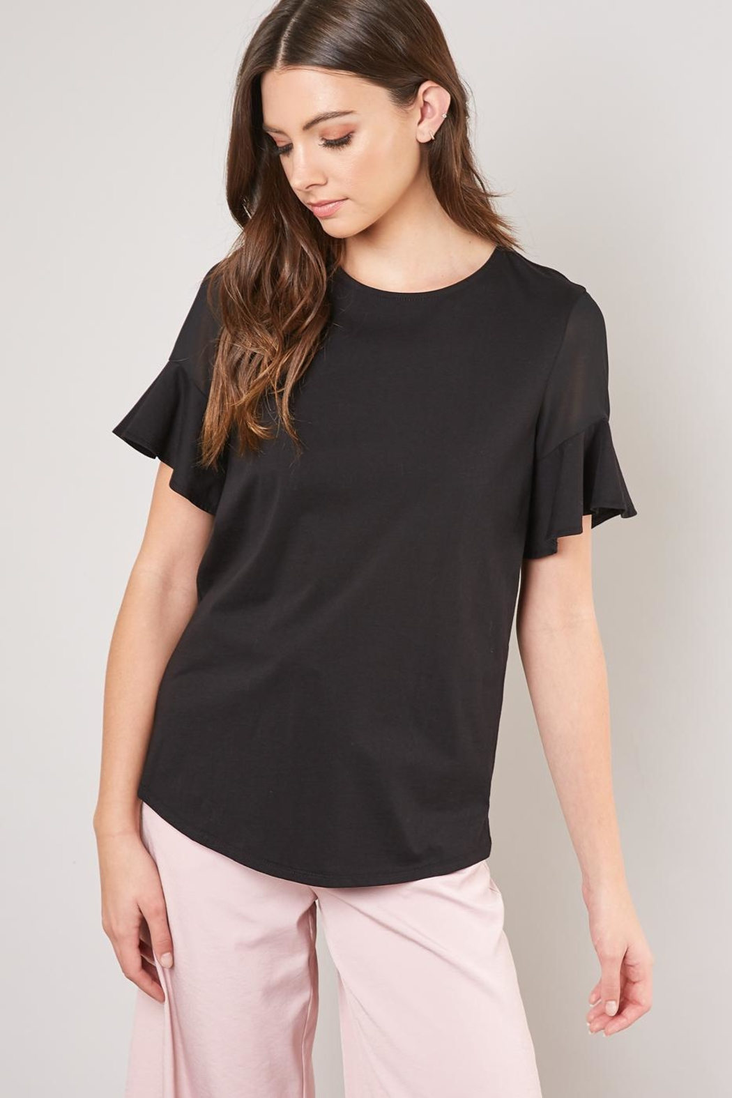 Mustard Seed Ruffle Sleeve Tee - Front Cropped Image