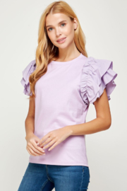 Strut & Bolt Ruffle Sleeve Tee - Front cropped