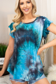 Heimish Ruffle Sleeve Tie Dye Top - Front cropped
