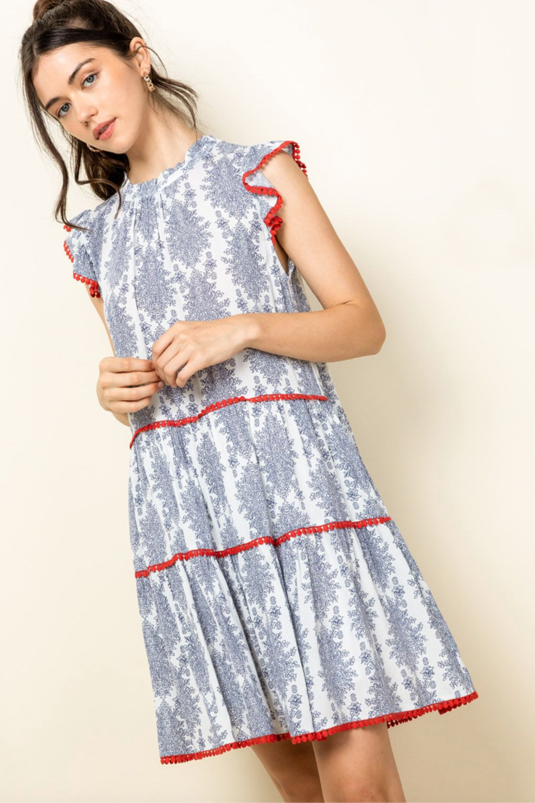 Thml Ruffle Sleeve Tiered Dress - Main Image
