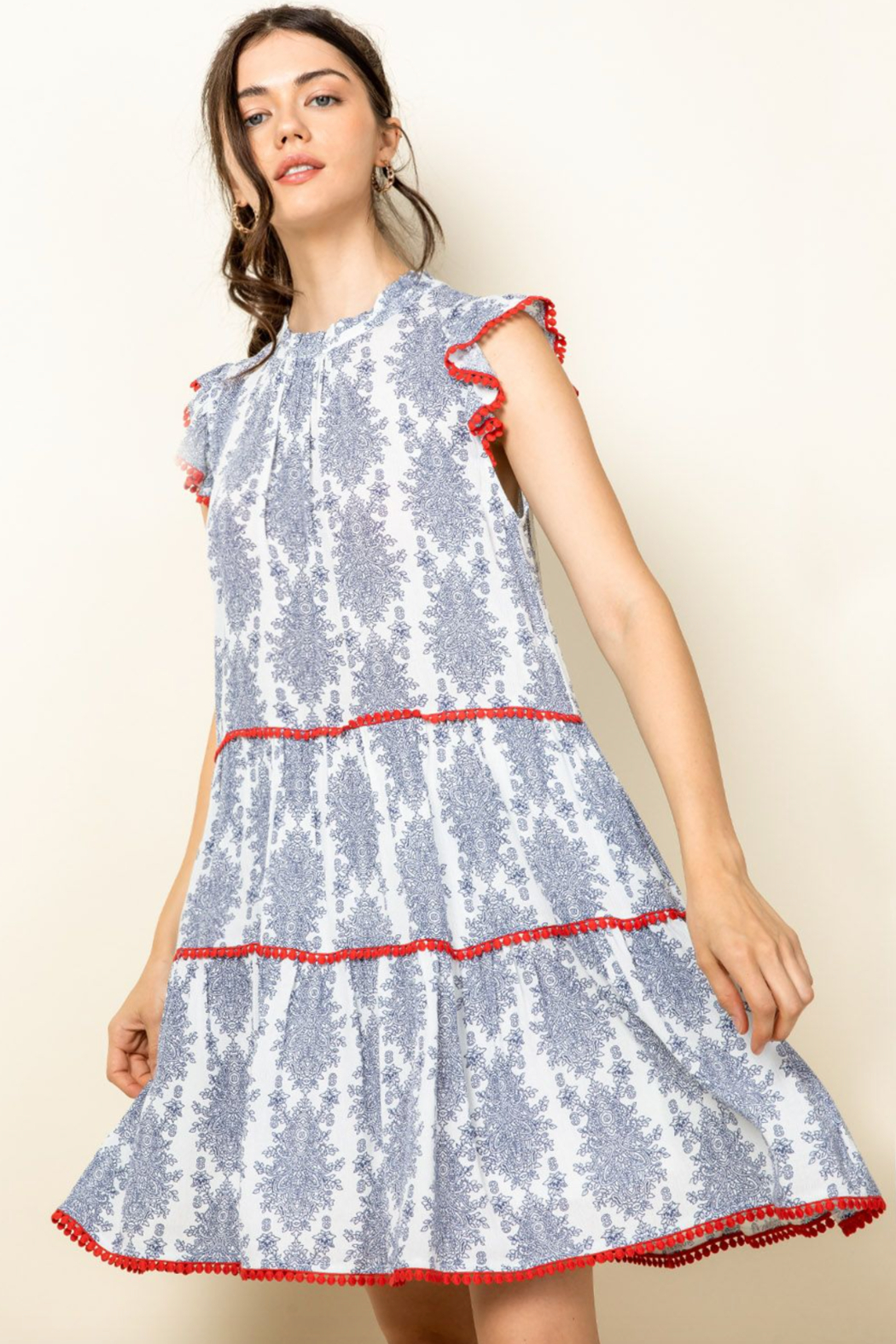 Thml Ruffle Sleeve Tiered Dress - Front Full Image