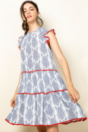 Thml Ruffle Sleeve Tiered Dress - Front full body