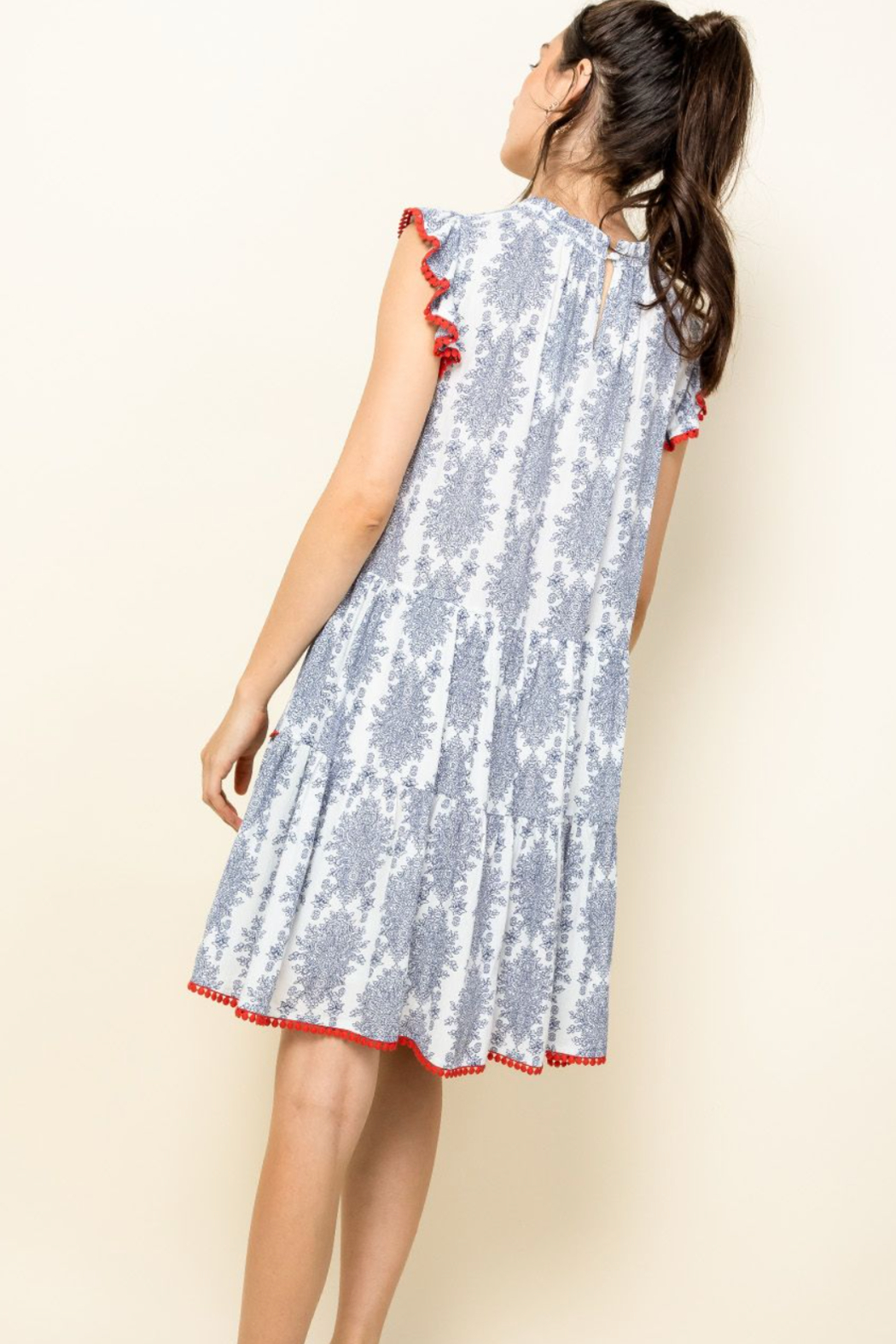 Thml Ruffle Sleeve Tiered Dress - Side Cropped Image