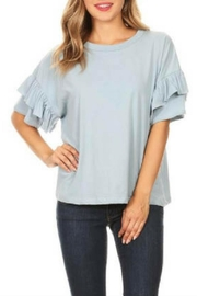 Hashttag Ruffle Sleeve Top - Front cropped