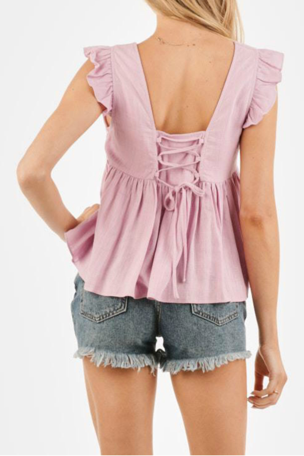 LoveRiche Ruffle sleeve top - Front Full Image