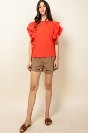 Thml Ruffle Sleeve Top - Front cropped