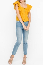 Lush Ruffle-Sleeve Top, Mustard - Product Mini Image