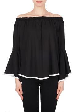 Joseph Ribkoff Ruffle Sleeve Top w Contrast Piping - Product List Image