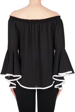 Joseph Ribkoff Ruffle Sleeve Top w Contrast Piping - Alternate List Image