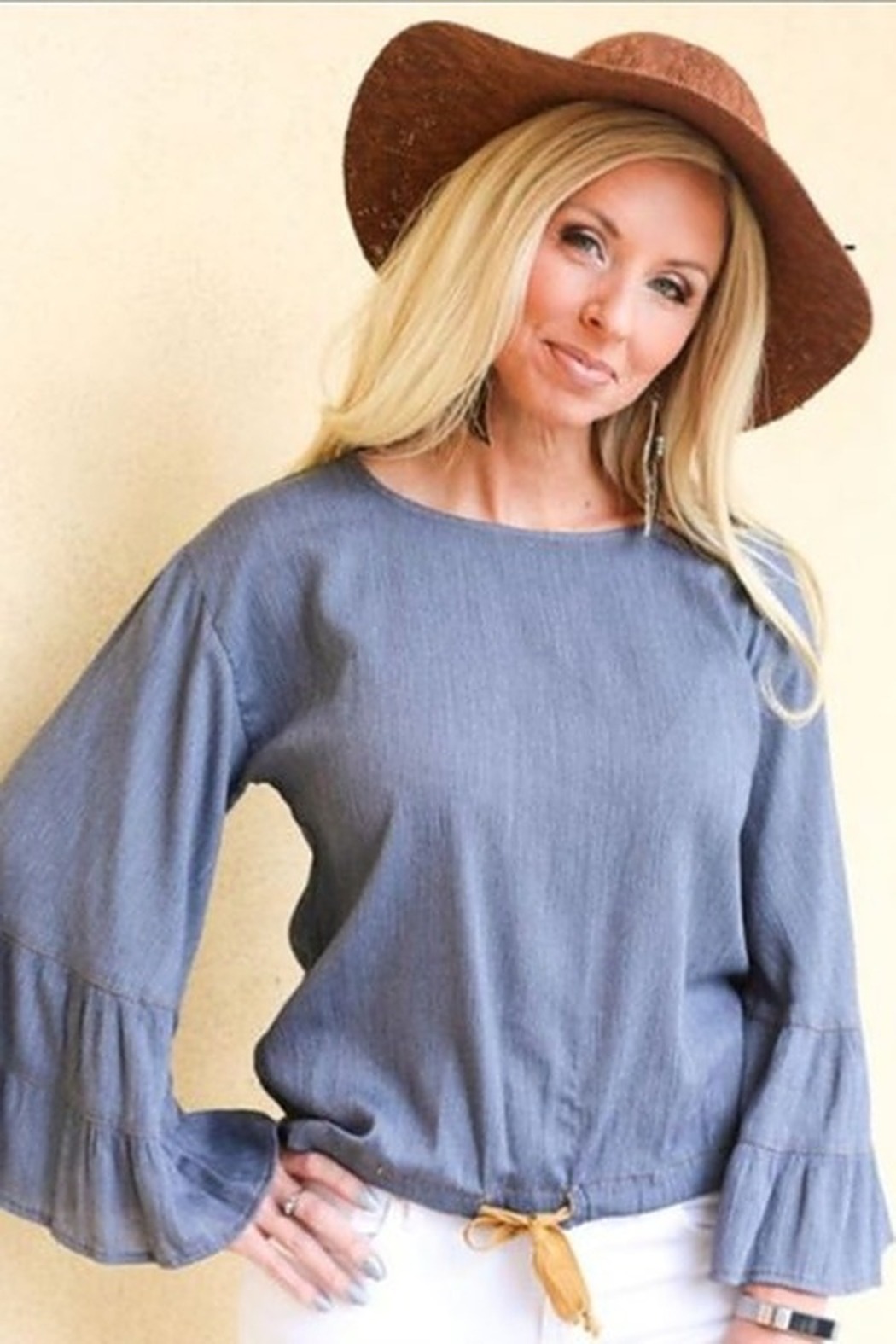 Ivy Jane  Ruffle Sleeve Top with Drawstring - Front Cropped Image