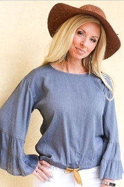 Ivy Jane  Ruffle Sleeve Top with Drawstring - Front cropped