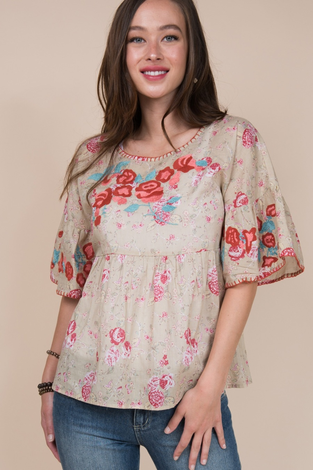 Ivy Jane  Ruffle Sleeve Top with Embroidered Roses - Front Cropped Image