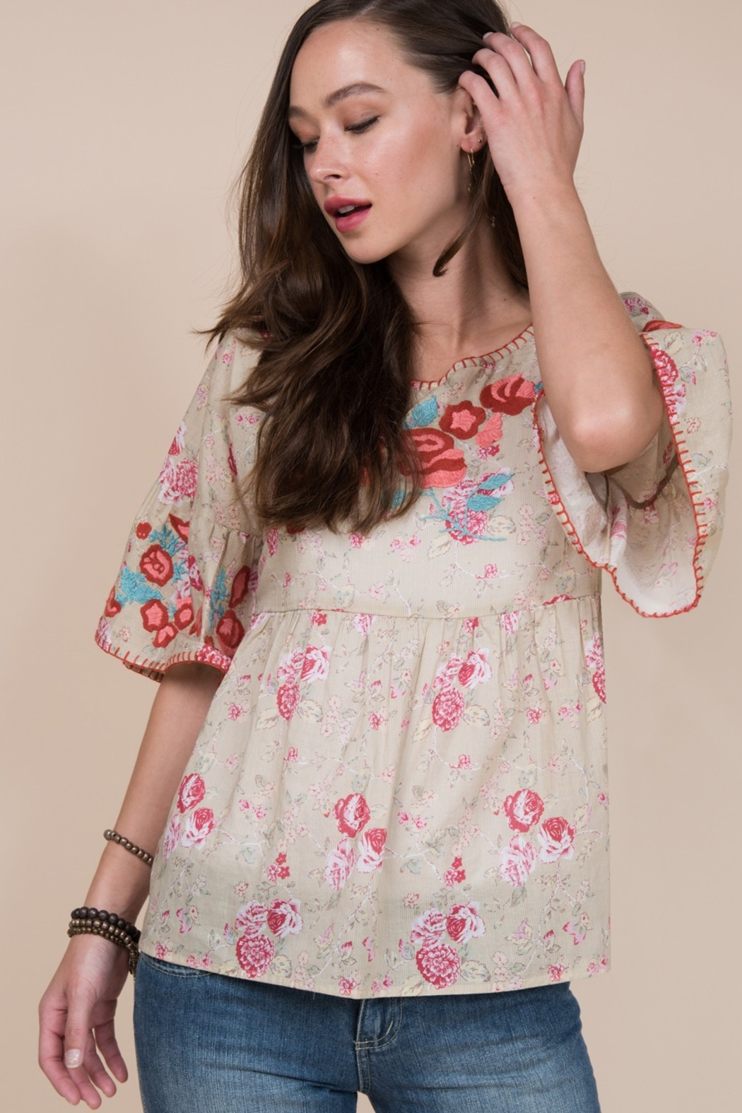 Ivy Jane  Ruffle Sleeve Top with Embroidered Roses - Front Full Image