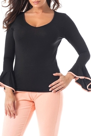 Angel Apparel Ruffle Sleeve V-Neck - Front cropped