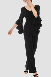 Joseph Ribkoff Ruffle Sleeve V-neck Top - Product Mini Image