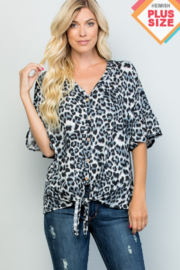 Heimish Ruffle Sleeve VNeck Tie Front Top - Front cropped