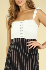 Pretty Little Things Ruffle Strap Bodysuit - Front cropped